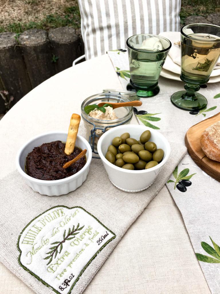 Untersetzer mit Applikation Huile d'Olive Leinentischwäsche Geschenkideen für Frankreichliebhaber
