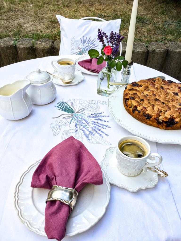 Serviette Leinen Beere Tischdecke  gestickter Lavendel antikes Baumwolle Geschenkidee für Frankreichliebhaber