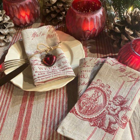Tischwäsche Weihnachten Streifen rot natur Servietten Engelmoiv