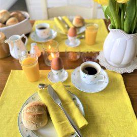 Tischset Leinen gelb Tischwäsche