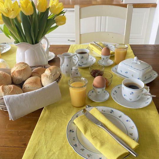 Leinen gelb Tischläufer Tischwäsche