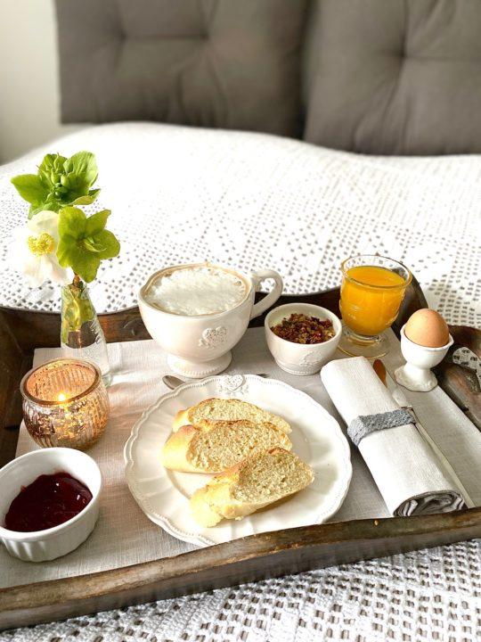 Tischset grau Leinen Frühstück