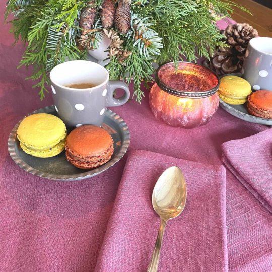 Servietten Leinen Beere Brombeere Macarons