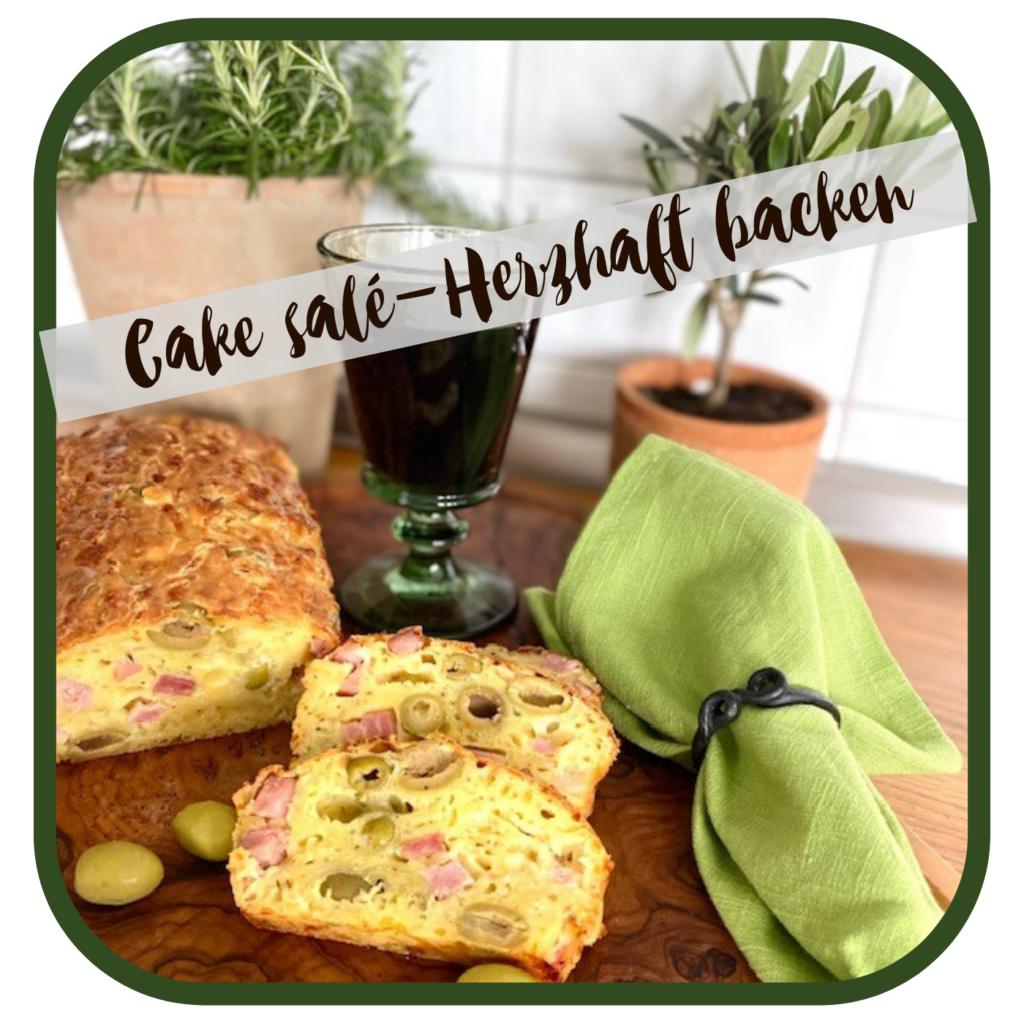cake salé Olivenkuche mediterane Küche einfaches Rezept Leinenserviette grün